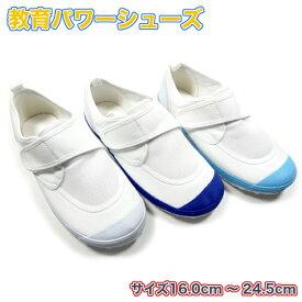 教育パワーシューズ 白 青 ライトブルー 16.0cm--24.5cm 上履き 子供 幅広 体育館履き 校内履き 上靴 2足で送料無料