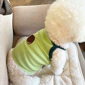 ペット犬服夏用 夏のクールビズ ペット服 ショットタイプ 犬猫 ドッグウェア 犬の服 ペット 服 猫 服 トイプードル服 薄い キャミソール タンクトップ キウイフルーツ柄緑色