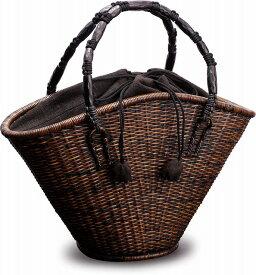 在庫要確認 ござ目編み 扇形バッグ W39cm×D12cm×H24cm+14cm カゴ 国産 日本製 かごバッグ 籐 皮籐 木 組み紐 綿 天然素材 職人手作りシンプル ナチュラル 買い物 おでかけ 鞄 カバン