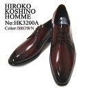 落ち着きのある上品なブラック!The紳士靴!HIROKO KOSHINO/ヒロコ コシノ ビジネス紳士靴 ブラウン プレーントゥ ロ…