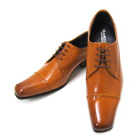 熟練された職人仕上げ!MadeinJapanモデル!フランコ ルッチ/FRANCO LUZI FL4672-BROWN ブラウン 紳士靴 ストレートチップ 飾り縫い スクエアトゥ 外羽根 パーティー ビジネス 送料無料 ポイント10倍