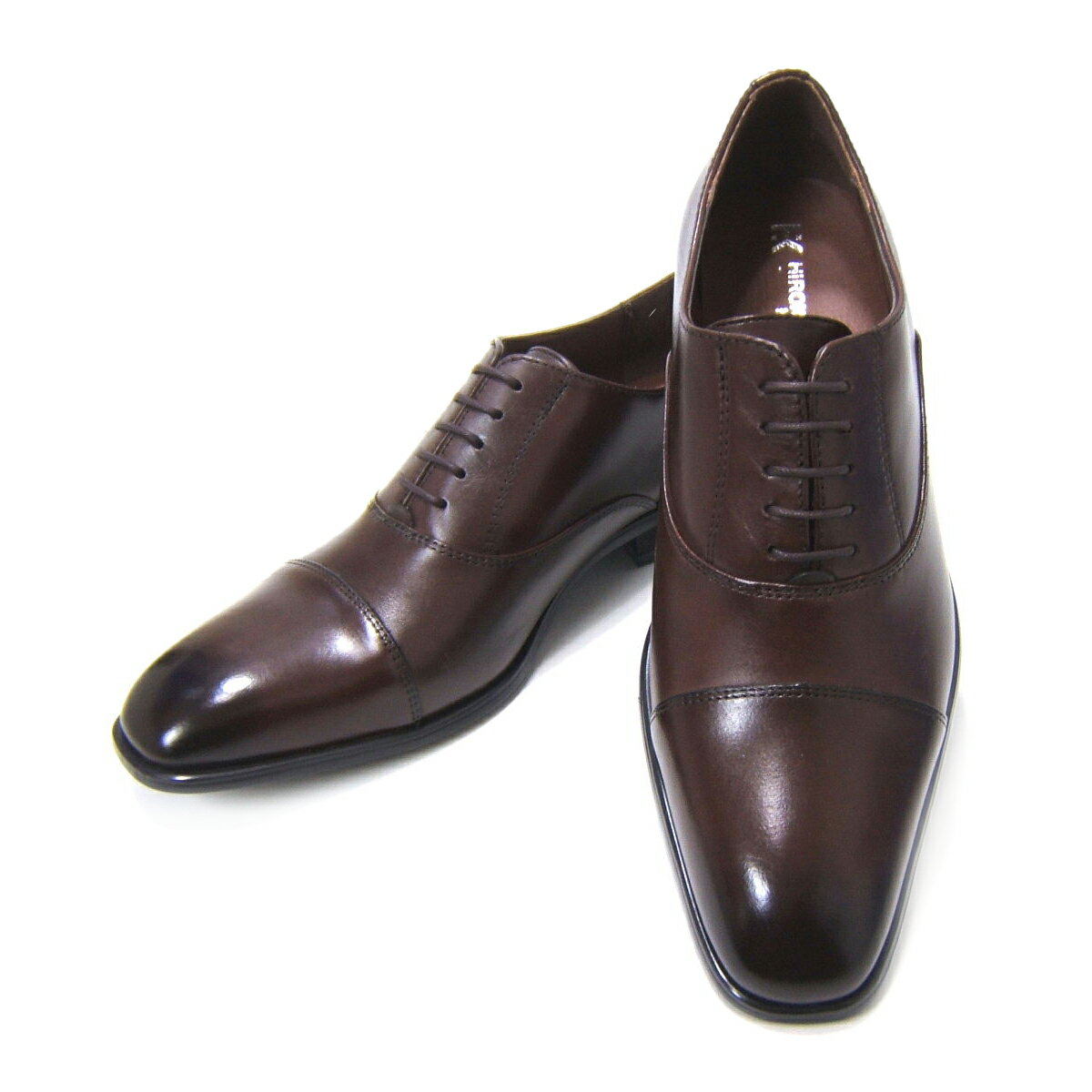 愛され続ける伝統のストレートチップ!HIROKO KOSHINO/ヒロコ コシノ ビジネス HK128-DBR紳士靴 ダークブラウン ストレートチップ 内羽根 ロングノーズ3Eワイズ ビジネス 送料無料