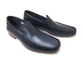 オフタイムに履く大人のレザースリップオン!KATHARINE HAMNETT LONDON キャサリン ハムネット ロンドン紳士靴 31559 ネイビー Uチップ スリップオン カジュアル パーティ 送料無料