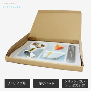 【TAKEMEKI】 A4サイズ用ダンボールケース(5枚入り) ネコポス クリックポスト対応 テープ不要 包装 梱包 配送 茶色 ブラウン ベージュ ラッピング メルカリ フリマアプリ