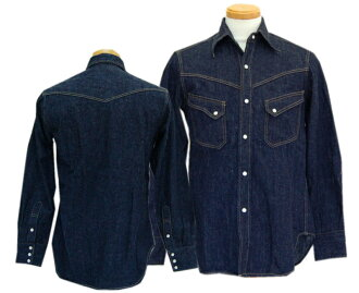 WAREHOUSE服装房屋长袖子衬衫3001 LONG HORN TYPE DENIM WESTERN SHIRTS(一洗涤)