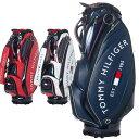 トミーヒルフィガー ゴルフ キャディバッグ メンズ 9.0型 約4.2kg 5分割 ブランド レア ホワイト ネイビー レッド 白 …