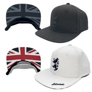 アドミラル ゴルフ キャップ メンズ 帽子 別注限定 ロゴ フラットバイザー ユニオンジャック サイズ調節 ベースボールキャップ 白 黒 ADMB001T