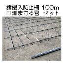 猪侵入防止柵 田畑まもる君 100mセット 線径5mm 亜鉛メッキ 高1.2m×幅2.0m 支柱、結束線付き 防獣柵
