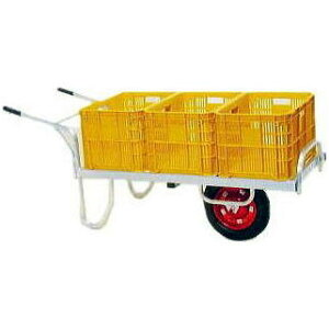 ハラックス コン助 CN-60DN アルミ製平型一輪車 ブレーキ無ノーパンクタイヤ (TR-13×3N)(法人個人選択) [コンテナ3個積載可能 補強 2重パイプ 瀧商店]