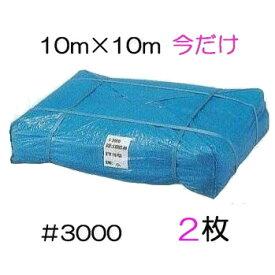 限定特価 2枚 ブルーシート 厚手 #3000 10M×10M