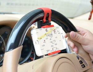 車のハンドルに固定する ハンズフリー 車載スタンド 車載ホルダー ハンドルに固定 携帯ホルダー スマホホルダー 伸縮可能 iPhone スマートフォン ステアリング ハンドル