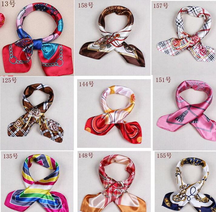 カラフル艶やかなシルク調スカーフ シルクロードの起点【西安】からの贈り物 美品激安 60角企業制服スカーフ(色番号19〜36)