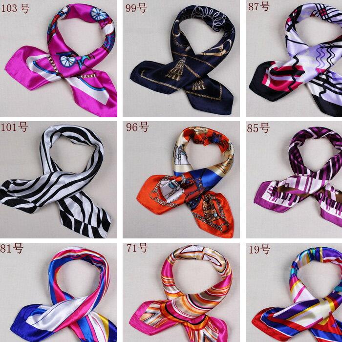 カラフル艶やかなシルク調スカーフ シルクロードの起点【西安】からの贈り物 美品激安 60角企業制服スカーフ(色番号37〜54)