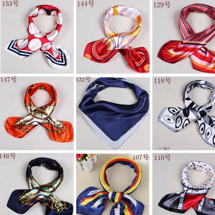 カラフル艶やかなシルク調スカーフ シルクロードの起点【西安】からの贈り物 美品激安 60角企業制服スカーフ(色番号55〜72)