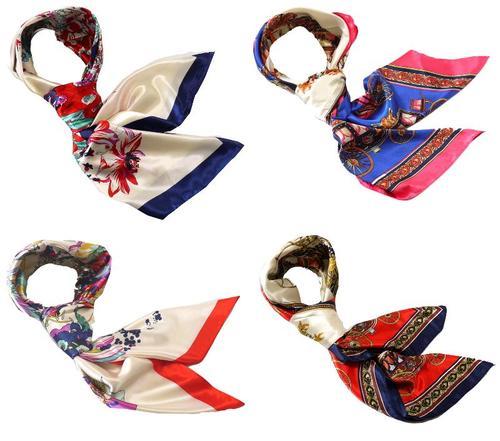 本気の安さ 華麗なシルク調 花柄90cm正方形大判スカーフ 制服用のおしゃれなレディーススカーフ