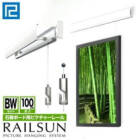 RAILSUN レールサン石膏ボード用ピクチャーレールBWセット1m(100cm)【RAILSUN 白ポール式ワイヤー自在セット】WRS-100BW額吊レール インテリア雑貨 ディスプレイ