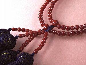 赤珊瑚 本連 数珠 女性用 桐箱入 (のし等ギフト対応無料) 4.7mm玉 長さ50cm 房は正絹 無染色さんご サンゴ念珠は結納、嫁入り道具に