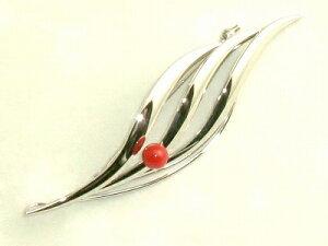 血赤珊瑚 ブローチ (のし等ギフト対応無料 ) 6mm玉の高知県産血赤珊瑚におしゃれなシルバーの金具 落下防止シリコン付 ペンダントにもなる 2WAY 無染色さんご 日本産サンゴ sango silver (銀