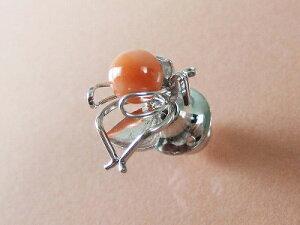 深海珊瑚 虫さん ピンブローチ (ギフト対応無料) 5.8mm玉にムシの形のシルバー金具 無染色さんご サンゴ sango silver (銀)