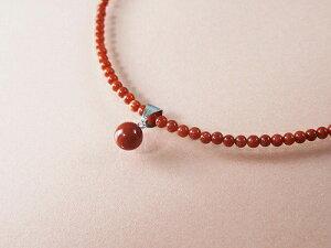 赤珊瑚 プチ ネックレス (のし等ギフト対応無料 ) 14金ホワイトゴールドの金具に5.9mm玉地中海産 本珊瑚 2.7mmの玉が竿に 長さ40センチの首元を彩るプレシャスジュエリー 無染色さんご