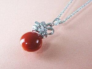 血赤珊瑚 ペンダント ネックレス (のし等ギフト対応無料) プチダイヤモンド付おしゃれな18金ホワイトゴールドの金具に高知県産血赤珊瑚ペンダントトップ 62センチのメッキチェーン付属 無