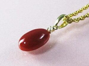 滴型の血赤珊瑚 ペンダント (のし等ギフト対応無料) プチダイヤモンド付18金の金具に滴型高知県産血赤珊瑚ペンダントトップ ネックレス 45センチのメッキチェーン付属