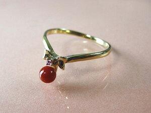 血赤珊瑚 指輪 (のし等ギフト対応無料 ) ぷちルビー付18金イエローゴールドのリング/4mmの血赤サンゴ 無染色さんご 10号/11号/12号 18k