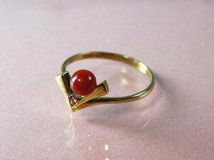 血赤珊瑚 指輪 (のし等ギフト対応無料 ) ぷちルビー付18金イエローゴールドのリング/4mmの血赤サンゴ 無染色さんご 10号 18k