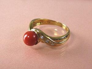 血赤珊瑚 指輪 (のし等ギフト対応無料) ぷちダイヤモンド付18金イエローゴールドのリング/6.3mmの血赤サンゴ 無染色さんご 11号(8-14号は無料サイズ直し)18K