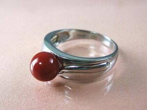 血赤珊瑚 指輪 プラチナのリング (のし等ギフト対応無料) 6.9mm玉 高知県産血赤珊瑚 無染色さんご 12号(9-15号は無料サイズ直し)Pt900 サンゴ