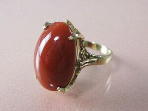 訳あり 血赤珊瑚 指輪 18金イエローゴールドのクラシカル リング (のし等ギフト対応無料) 19mm×12.5mmの血赤サンゴ 無染色さんご 11号(7-15号は無料サイズ直し)18k