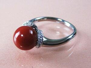 血赤珊瑚 指輪 ぷちダイヤモンド付18金ホワイトゴールドのリング (のし等ギフト対応無料)8.65mm玉 血赤サンゴ 無染色さんご 11.5号(7-15号は無料サイズ直し)18KWG
