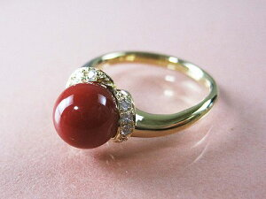 血赤珊瑚 指輪 ぷちダイヤモンド付18金イエローゴールドのリング (のし等ギフト対応無料) 8mmの血赤サンゴ 無染色さんご 11号(8-14号は無料サイズ直し)18k