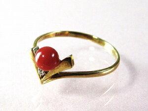 血赤珊瑚 指輪 (のし等ギフト対応無料 ) ぷちダイヤモンド付18金イエローゴールドのリング/4.3mmの血赤サンゴ 無染色さんご 10.5号 18k