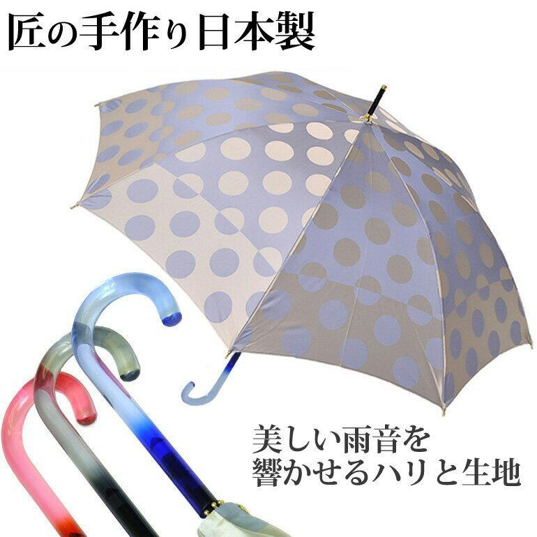 甲州織水玉 婦人 長傘 8本骨 日本製 全3色 親骨60cm