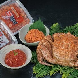 【蟹と魚卵の豪華セット!】ボイル毛ガニ400g×1尾&鮭明太90g&いくら醤油漬け90g