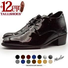 セミオーダー シークレットシューズ プレーントゥ 外羽根 本革 革靴 背が高くなる靴 トールシューズ オーダーシューズ【OMS-PLSB-12cm】