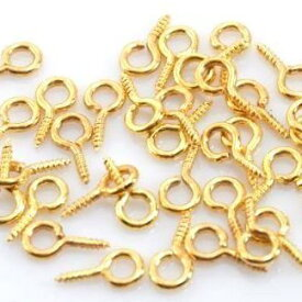 ヒートン 8mm ゴールド 約 100個 金色 【 UV 樹脂 レジン ハンドメイド アクセサリー パーツ 金具 用