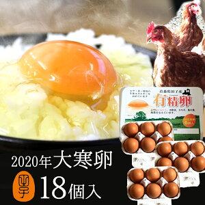 2020年 大寒卵 有精卵 18個入り 金運健康運アップ 期間限定の縁起物 開運卵 飲んでも美味!甘く濃厚 生臭さ無し ギフト 送料無料 平飼いでストレスなくのびのび育った純国産鶏産む健康タマゴ