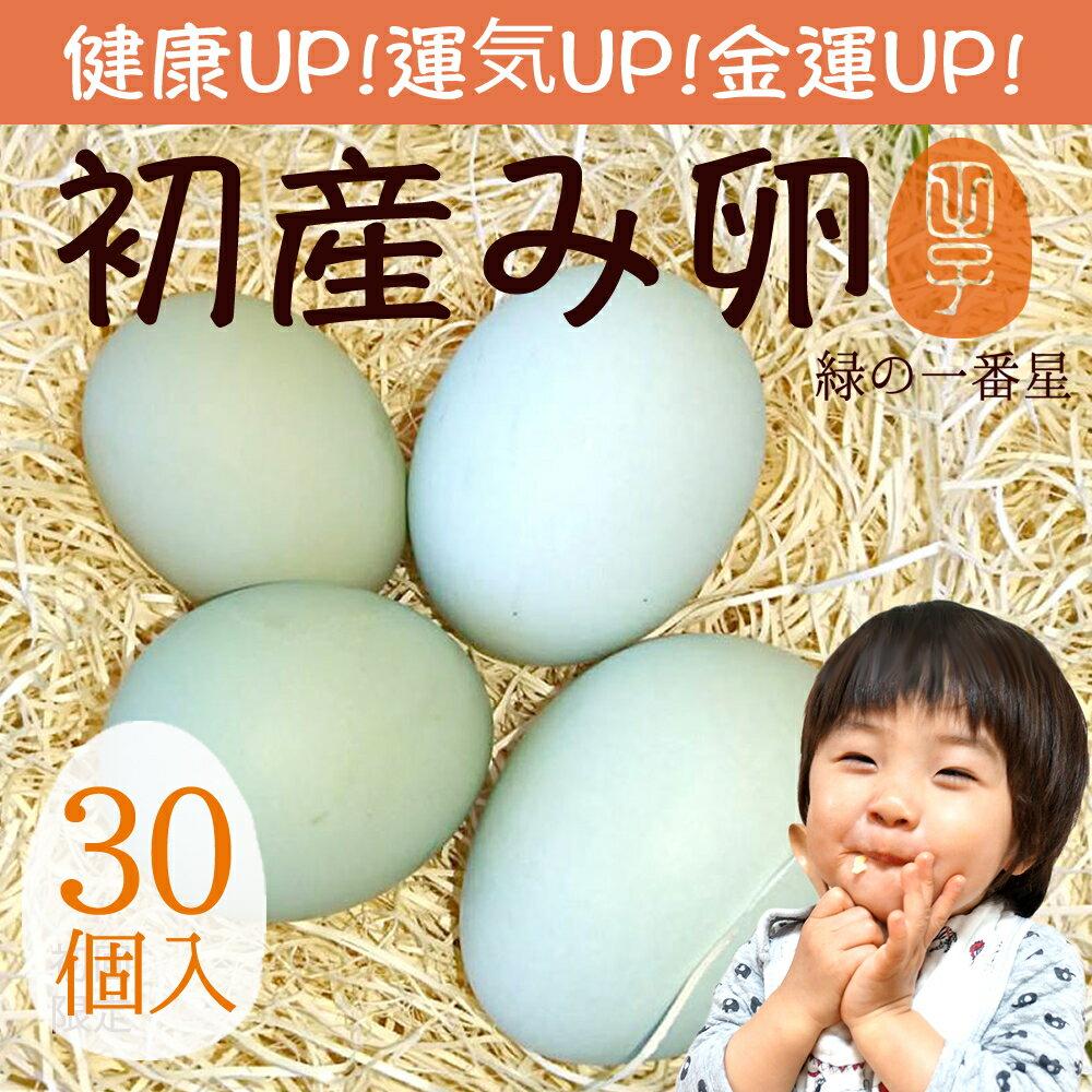 緑の一番星 期間限定の縁起物 初産み卵 30個(トレイ入 小さめサイズ) 雑誌掲載テレビで話題 緑の卵 高波動 ギフト お歳暮 お年賀