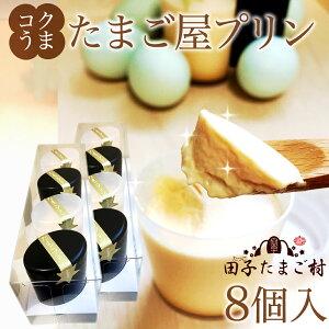 手作り コクうま 卵プリン8個 化粧箱入り 雑誌掲載テレビで話題 新鮮緑の一番星使用!濃厚な風味 とろける口当たりスイーツ♪ ギフト 送料無料 アローカナの卵が進化!高級栄養卵使用 【ク