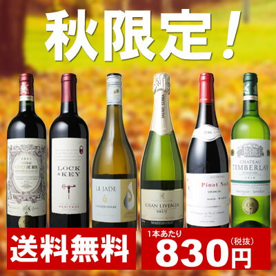 【送料無料】【ワインセット】<第2弾>秋のワイン6本セット ※送料無料のまま、ワインあと6本<合計12本>までは一緒に送れます。【※結婚祝いや誕生日などのギフト・プレゼントにも!】【沖縄・離島は別料金加算】