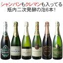 【送料無料】ワインセット シャンパン入 スパークリング ワイン 6本 セット クレマン シャンパン製法 瓶内二次発酵 泡好き歓喜 第20弾