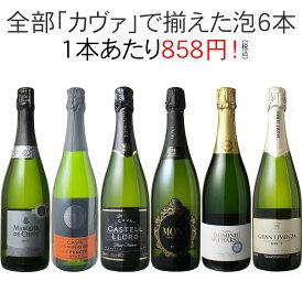 【送料無料】ワインセット カヴァ 6本 セット 辛口 シャンパン製法 瓶内二次発酵 スパークリングワイン カヴァだけ 第42弾