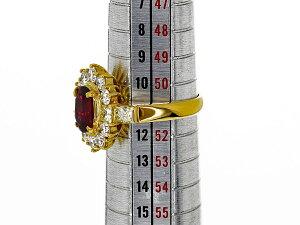 ビルマ産レッドスピネル(Spi1.17ct)ダイヤモンド(D1.39ct)リング750K18YGイエローゴールド日本サイズ約11号#51GIA鑑別書【送料無料】【代引き手数料無料】レディース【中古】26760902