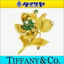 TIFFANY&Co蒂芙尼列车时间表绿宝石花胸针K18 750 YG黄色黄金花28400602