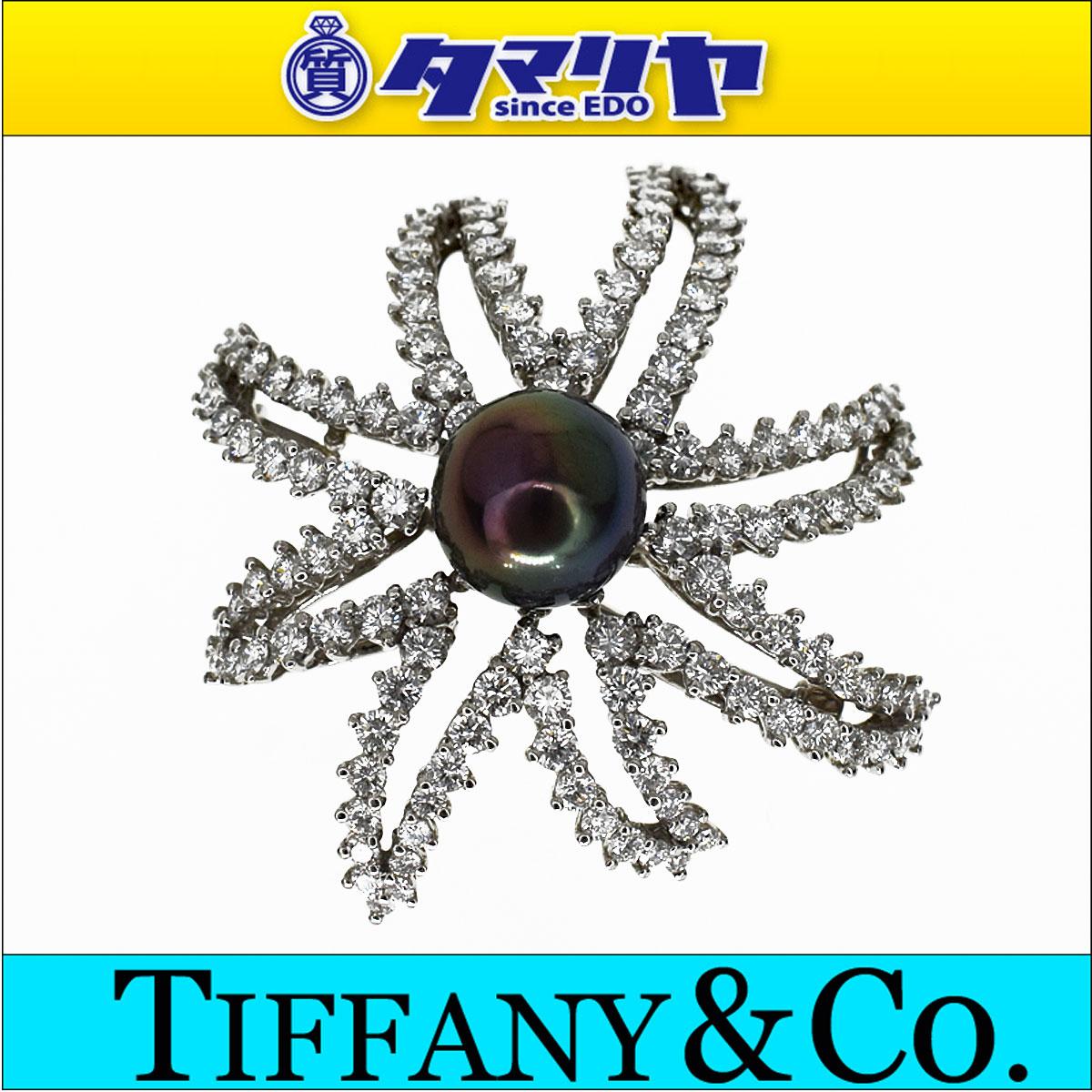 TIFFANY&Co ティファニー ダイヤ ブラックパール ファイヤーワークス ブローチ Pt950 プラチナ 1994【送料無料】【代引き手数料無料】黒真珠【中古】29400503