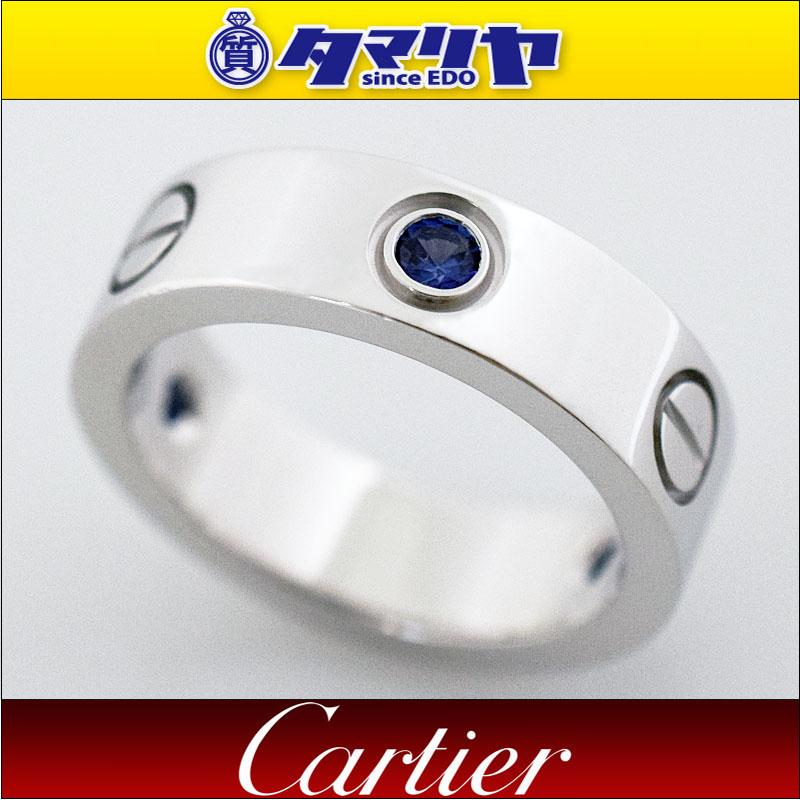 Cartier カルティエ ハーフ 3Pサファイア ラブリング K18 750 WG ホワイトゴールド 日本サイズ約11号 #51【送料無料】【代引き手数料無料】 指輪【中古】28630902
