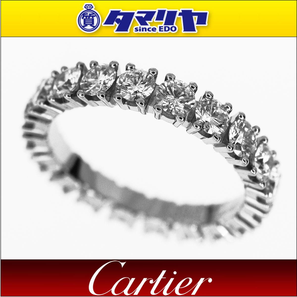 Cartier カルティエ ダイヤ(D1.39ct) デスティネ エタニティ リング Pt950 プラチナ 日本サイズ約6号 #46【送料無料】【代引き手数料無料】指輪 レディース【中古】30150203