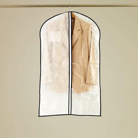 1/2透明タイプ センターファスナー洋服カバースーツ・ジャケットサイズ 3枚入【KS176】